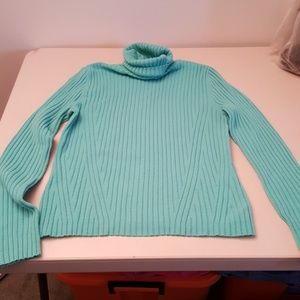 Turquoise turtleneck sweater
